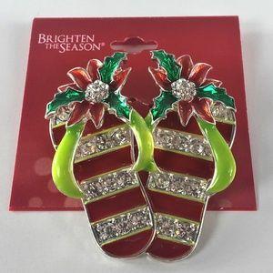 Christmas Holiday Season Flip Flops Brooch Pin